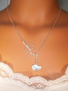 Have to get this !!!!! Bird Necklace  Branch  Lariat  White Gold by LadyKJewelry on Etsy, $19.99