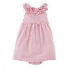 NWT Ralph Lauren Baby Girls Seersucker Party Dress and Panty Set Size 12 Months #RalphLauren #Dressy