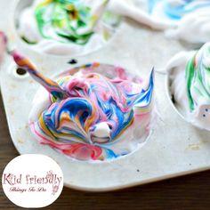 How To Dye Easter Eggs With Shaving Cream (or Whipped Cream) - What a fun way to dye Easter Eggs with kids. Love the different swirl patterns - www.kidfriendlythingstodo.com