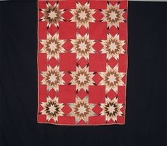 Love the red background fabric on this one!  Touching Stars.  c.1880.  52 x 72 inches.