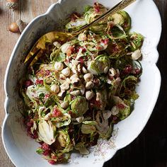 Nuts and Berries Winter Slaw (mainly Brussels sprouts).