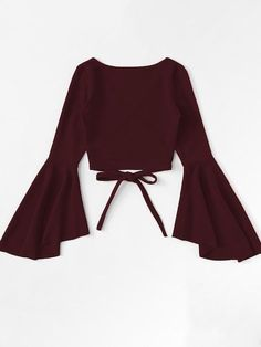 Wrap shirt with flounce sleeves is part of Outfits - Wickelshirt mit Volantärmeln SHEIN Wrap shirt with flounce sleeves Shein Girls Fashion Clothes, Teen Fashion Outfits, Cute Fashion, Girl Fashion, Fashion Dresses, Fashion Jobs, Pink Clothes, Woman Outfits, Young Fashion
