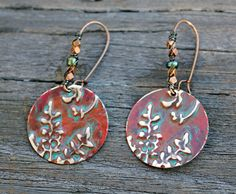 SOLD! Vintaj Earrings Patina Brass Embossed Arizona Earth Tones by Eleven11designs