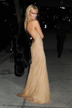 nude dress, tousled hair, smokey eye, bronzed skin