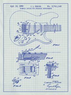 Fender guitar poster 3 pack fender guitar blueprint fender fender stratocaster guitar blueprint graphic art poster in white gridblue ink malvernweather Image collections