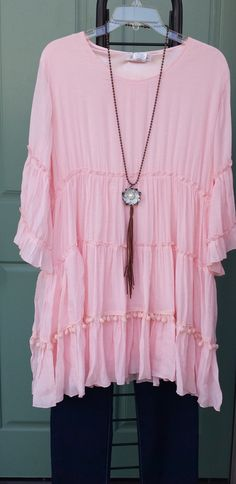 Let The Sun In Resort Tiered Mini Dress / Tunic With Pom Pom Trim Pink Plus Size XL 1XL 2XL