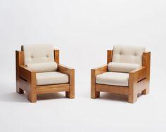 Alain Gaubert, Pair of Club Chairs and Three Seat Sofa, France, circa 1965 Wood Patio Furniture, Simple Furniture, Furniture Design, Wooden Sofa Set Designs, Sofa Layout, Diy Sofa, Living Room Sofa, Club Chairs, July 31