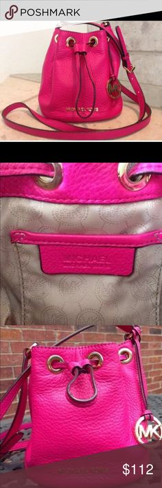 Michael Kors Pink Sack Purse Michael Kors Pink Sack Purse. Cross body with long strap. Gorgeous fuchsia hot pink color. Like new with minimal wear. Original price $198 with tax. Michael Kors Bags Crossbody Bags
