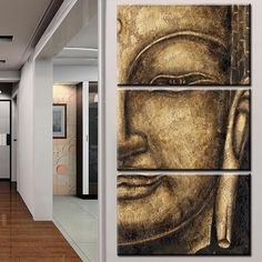The original High Quality HD Group Oil Painting 3 Panel Wall Art Religion Buddha Oil Painting