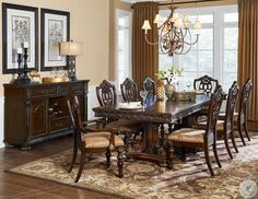 Home Elegance 7 pc Catalonia cherry finish wood double pedestal dining table set Classic Dining Room, Minimalist Dining Room, Dining Room Design, Dining Room Furniture, Modern Furniture, Furniture Design, Chinoiserie, Primitive Dining Rooms, Tuscan Dining Rooms