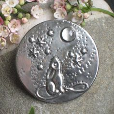 Moon gazing Hare Pin Brooch in Silver Pewter with by coatiMonday