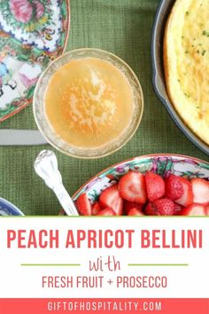 Your summer brunch isn't complete without a cocktail! This Peach Apricot Bellini is the perfect addition to your menu. #brunchcocktail #peaches #apricots #sparklingcocktail Bellini, Beverages, Brunch, Cocktails, Menu, Peach, Cocktail Parties, Menu Board Design, Drinks