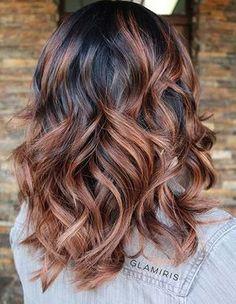 Copper Caramel Balayage Highlights on Dark Hair