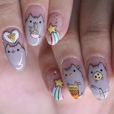 #Pusheen close up! #thenailartelier #hajilane (☎️62988028) #kembangan (☎️66362886) #nailart #nailswag #nailstagram #TNAcustomart #TNAcartoon