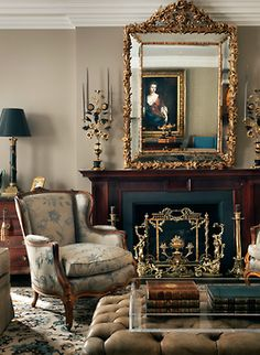 Elegant, Victorian inspired living room - cute way to decorate tufted bench