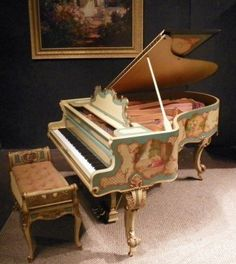 Bush & Gerts Custom Country French Baby Grand Piano (1902) -- This stunning Bush & Gerts Centennial Grand Piano is a lovely example of the rare Country French style which was popular among the wealthier class in the early 20th Century.