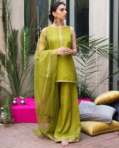 Buy Green Color Plazo Suit by Akanksha Singh at Fresh Look Fashion Pakistani Fashion Casual, Pakistani Dresses Casual, Shadi Dresses, Pakistani Wedding Outfits, Pakistani Dress Design, Pakistani Couture, Dress Indian Style, Indian Dresses, Indian Outfits