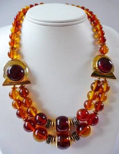 Coro faux amber bead necklace  vintage jewelry  mid century