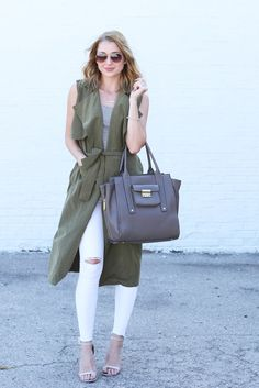 Army green sleeveless trench coat styled by @jacyoverstreet | Lookbook Store OOTD #LBSDaily