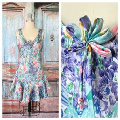 Women's Vintage 80s Pastel Watercolor Spring Floral Deep V Neck Ruffled Silky Satin Doll Baby Babydoll Nightie // Size Medium <3 Lingerie <3 Nightgown <3 Shop <3 Shopping <3 Fashion