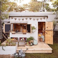 Castle and Cubby - Apple Crate Cubby House for Courtney Adamo and family. Cubby houses made by hand in Australia - Melbourne and Byron Bay. Kids Cubby Houses, Kids Cubbies, Play Houses, Kids Wooden House, Dream Houses, Kids Outdoor Play, Outdoor Play Spaces, Backyard For Kids, Backyard Playhouse