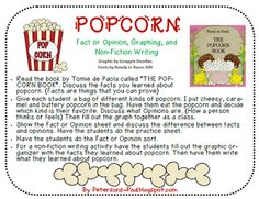 Popcorn! It's a fiction and non-fiction book combined. The twin boys are making popcorn and want to know more about it. So one brother gets the encyclopedia and begins reading all about it. He tells lots of interesting facts.
