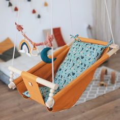 """Baby free motion swing """"PAINTS"""", snuggle baby nest, porch fabric swing, wooden hammock chair for toddlers and kids, newborn lounger Hanging Cradle, Hanging Swing Chair, Swinging Chair, Indoor Hammock, Hammock Swing, Hammock Chair, Indoor Swing, Wooden Swing Chair, Wooden Hammock"""