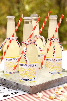 self-printed labels and hand-tied straws make this lemonade extra sweet!