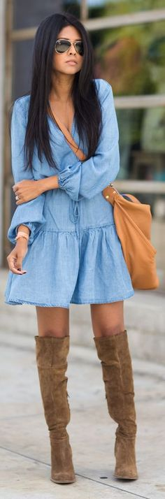 Sam & Lavi Chambray Ruffle Hem Summer Dress by Walk In Wanderland