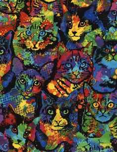 Item: Cotton cat fabric Print: Fantastic stacked cats with a paint splatter look... colorful! Colors: shades of red, purple, blue, green, yellow, pink, orange, and black. Photo 3 shows the color register dots on the selvage. Manufacturer: Timeless Treasures Collection: Cats & Dogs MPN: C4140 You choose: > Fat quarter (approx. 18 x 21) > Half Yard (approx. 18 x width of fabric) ** > By The Yard (approx. 36 x width of fabric) ** Width = approx. 42/44  Quantity equals that number of half yards…