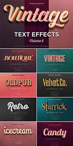 Vintage Text Effects a long break we decide to continue with our Vintage Text Effects series and we are happy to present you Volume This is the best set we made so far b Retro Graphic Design, Graphic Design Posters, Graphic Design Typography, Graphic Design Inspiration, Retro Font, Retro Logos, Vintage Typography, Vintage Logos, Graphics Vintage