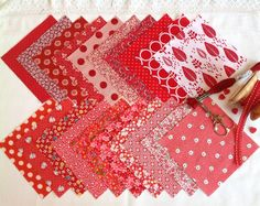 These red Charm squares are perfect for a scrappy quilt. I love fabric and colour and really enjoy putting these fabric packs together. Thank you for looking and happy sewing! Diy Home Crafts, Squares, Charmed, Quilts, Sewing, My Love, Fabric, Red, Handmade