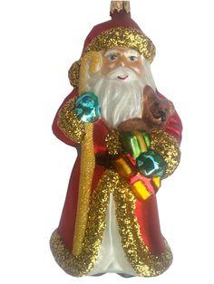 "4pc Beach Nautical shell Beard Santa Glass Christmas Ornament 4.5/"""