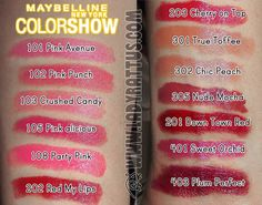 Maybelline ColorShow Lipstick in True Toffee, Party Pink, and Plum-Tastic Pink Punch, Cherry On Top, Toffee, Mocha, Maybelline, Plum, Peach, Lipstick, Sweet