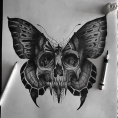 Skull Butterfly Tattoo, Butterfly Tattoos For Women, Moth Tattoo, Skull Tattoo Design, Tattoo Design Drawings, Art Drawings Sketches, Tattoo Sketches, Cartoon Drawings, Dope Tattoos