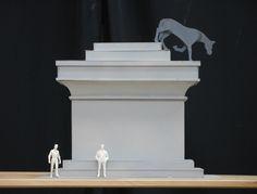Cristian Rusu  Horse Descending a Monument, 2011, model 1:25, carboard, acryl paint