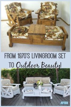 I have seen these living room sets in thrift stores and passed them up.quickly, but I love how this was recycled into a beautiful outdoor furniture set. # refurbished Furniture Set to Outdoor Beauty!