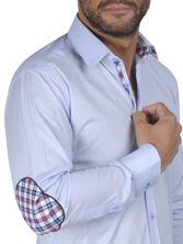 Chemise homme ciel à coudières doublure madras