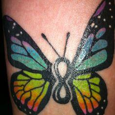 Tattoo S Current Future Tattoos Couple Tattoos Butterfly Tattoos Infinity Butterfly Tattoo, Butterfly Name Tattoo, Infinity Tattoos, Butterfly Tattoo Designs, Infinity Symbol, Infinity Signs, Baby Tattoos, Couple Tattoos, Body Art Tattoos