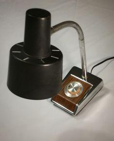 Silver Toned Gooseneck Black Metal Lamp Shade by modpodlove on Etsy