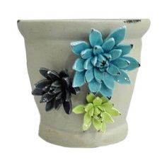 Picture of 7in Ceramic Planter with Flowers