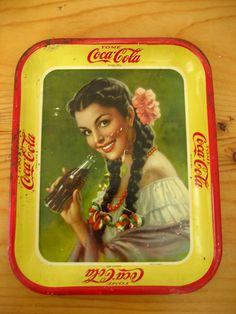 Vintage Coca Cola Tin Tray 1930s Mexico Authentic Beautiful Senorita   eBay