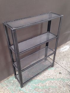 "Medium Metal Bookcase Recycled Metal $395 -- 45"" H x 30"" W x 9.5"" D"