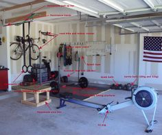 Everything you need for world class fitness is in this 8x10' space. Pull up bar, squat rack, Olympic bar and rubber bumper plates, rings, plyo box, C2 rower, assorted kettle bells and dumb bells, D...