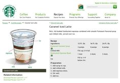 I LOVE the Iced Carmel Lattes at Starbucks, but drinking them all the time can get spendy. So I found how they make them online. Starbucks Recipes, Starbucks Drinks, Coffee Recipes, Coffee Menu, Coffee Cafe, Coffee Drinks, Starbucks Barista Training, Latte Flavors, Cinnamon Dolce
