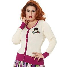 Voodoo Vixen Womens Cream Pink Owl Embroidery Vintage 1950s Retro Cardigan Top Excellent Quality - See more at: http://45.gs/b77y