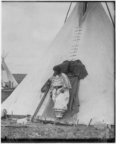 Wife of Wolf Eagle - Blackfeet (Pikuni) - 1909 (Antique photo of Native American)