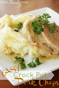 This was a classic Sunday dinner at my house. These easy crock pot pork chops are simple and delicious. The gravy makes it top notch!