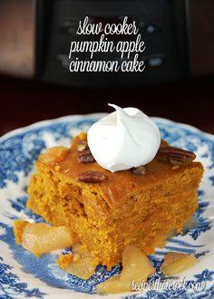 Slow Cooker Pumpkin Apple-Cinnamon Cake- Soo good! Perfect crock pot recipe for fall! #CrockPot