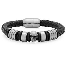 HMY jewelry uses timeless materials like stainless steel, leather and carbon fiber to create men's jewelry with personality. Each bracelet, from rugged leather to ref. Black Leather Bracelet, Black Bracelets, Jewelry Bracelets, Jewelry Watches, Men Accesories, Accessories, Mens Gadgets, Skull And Bones, Braided Leather